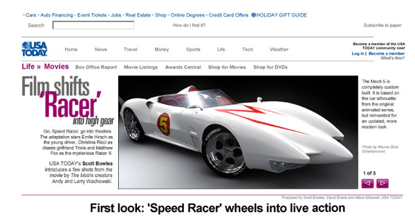 Speed Racer as featured in USA Today.